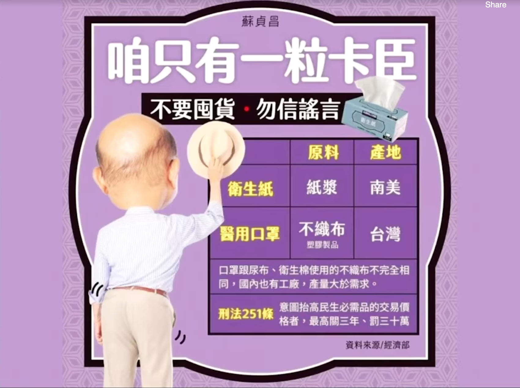 """We only have one pair of buttocks"" meme from Taiwanese Premier Su Tseng-chang."