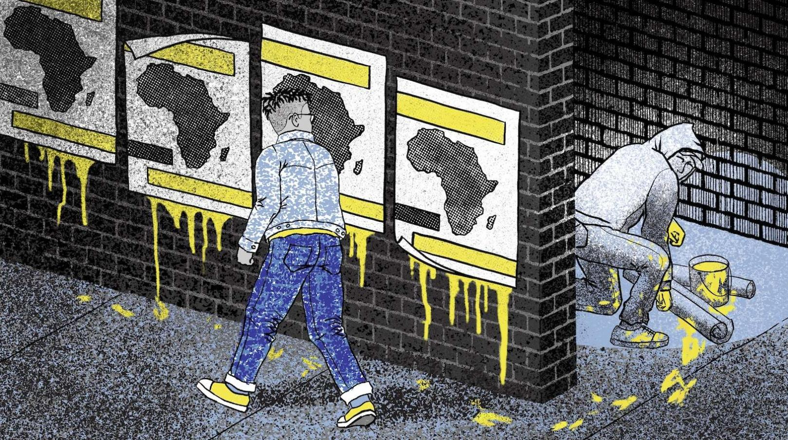 Posters of Africa being put up by a man in a hoodie, hiding in the shadows.
