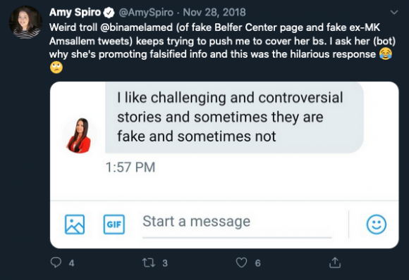 Figure 6: Amy Spiro, a journalist for The Jerusalem Post, calls out one of the network's persona who attempted to share a near identical copy of a Harvard Belfer Center website.