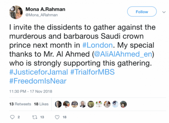 "Figure 5: Tweet of persona ""Mona A. Rahman"" reaching out to known Saudi critic Ali Al Ahmed."