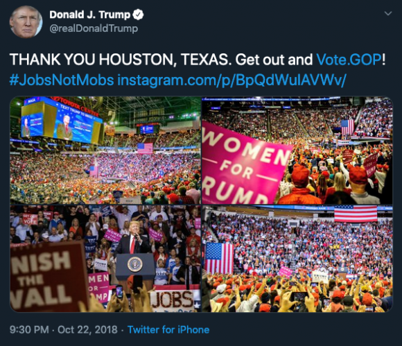Donald Trump's tweet thanking Houston and urging people to vote Republican, while using the hashtag #JobsNotMobs. Credit: Screenshot by TaSC.