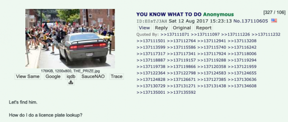 This is a screenshot of a /pol/ thread encouraging investigation of the car attack. Credit: Screenshot by TaSc.