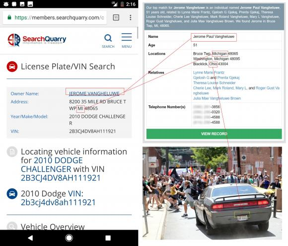 Evidence collage shared on 4chan attempting to identify the owner of the car.