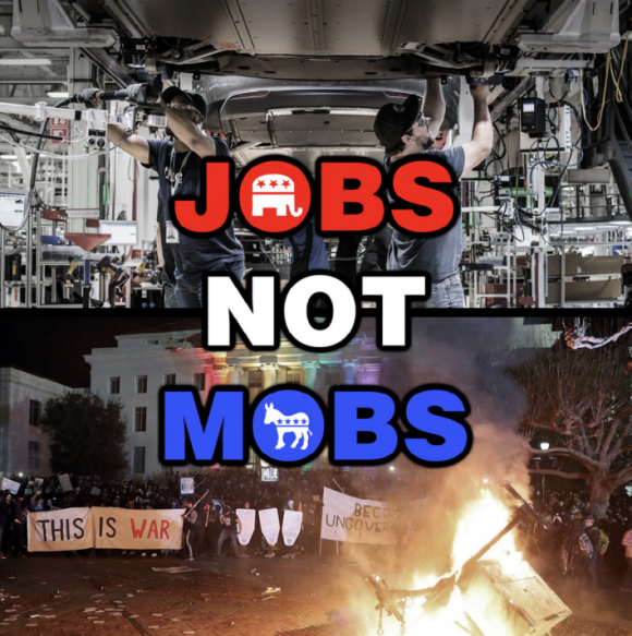 Jobs not mobs meme posted to the subreddit r_thedonald.