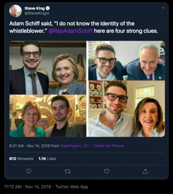 "On November 19, Republican congressman Steve King shared an Alexander Soros misidentification collage, commenting, ""Adam Schiff  [Democratic congressman] said, I do not know the identity of the whistleblower. @RepAdamSchiff here are four strong clues."" Credit: Screenshot by @IAStartingLine on Twitter."