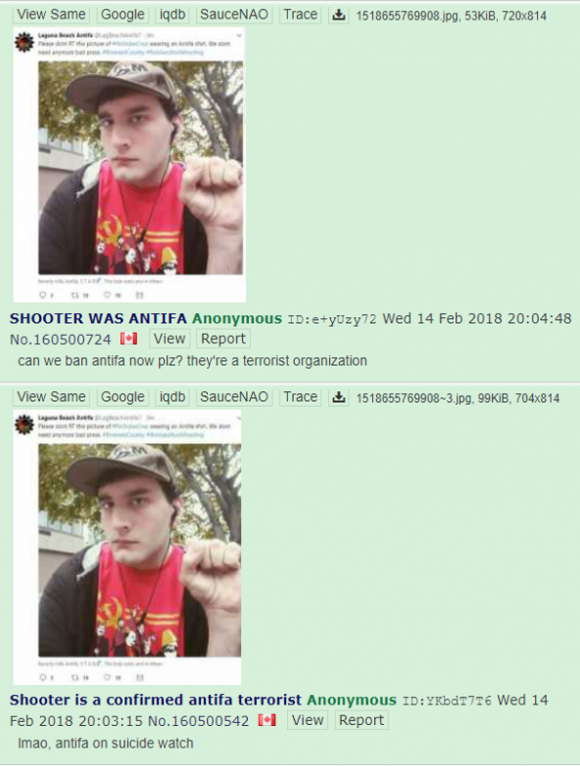 "These are multiple /pol/ posts sharing a tweet claiming the shooter was ""antifa."" Credit: Screenshot by TaSC."
