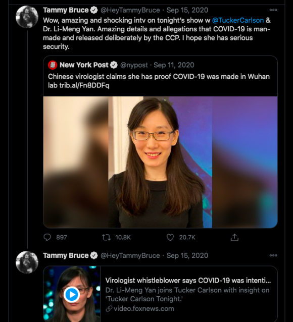 Tweet by Tammy Bruce publicizing Yan's interview with Tucker Carlson. Screenshot by TaSC.