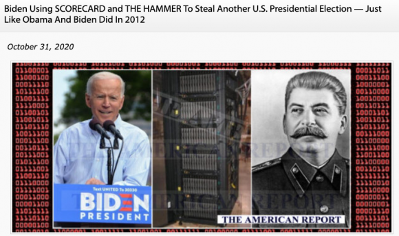 Screenshot of The American Report's image collage of President Joe Biden, a server, and former Soviet dictator, Joseph Stalin. Credit: TaSC.