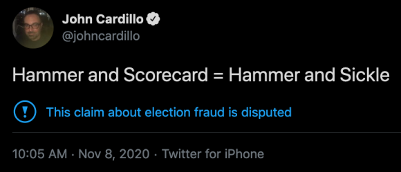 Screenshot of @johncardillo tweet comparing Hammer and Scorecard to Hammer and Sickle (a communist symbol). Credit: TaSC.